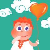 Vector hand drawn cute girl with heart balloon Stock Photo