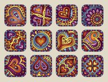 Vector Hand-Drawn decorative Valentine's day icons. Set Royalty Free Stock Photo