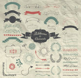 Vector Hand Drawn Design Elements and Ribbons Set Royalty Free Stock Image
