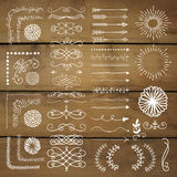 Vector Hand Drawn Design Elements on Wooden Texture Stock Photo