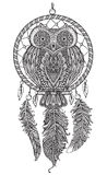 Vector Hand Drawn Detailed Ornate Owl With Dream Catcher Stock Photography