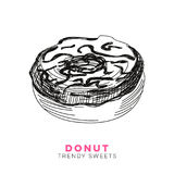Vector hand drawn donut Illustration. Stock Images