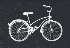 Vector hand drawn doodle bicycle. White illustration on blackboard Stock Images