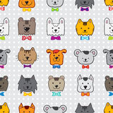 Vector hand drawn doodle cartoon animal heads Stock Images