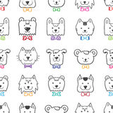 Vector hand drawn doodle cartoon animal heads. Seamless pattern in colorful bow-ties Royalty Free Stock Photos