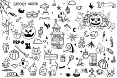 Vector hand drawn Doodle cartoon collection set of icon and symbols about the Halloween day. vector illustration