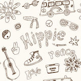 Vector hand drawn Doodle cartoon seamless pattern hippie objects and symbols Stock Photos