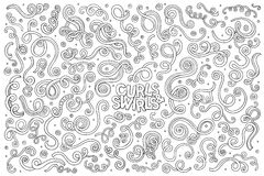 Vector hand drawn Doodle cartoon set of curls and Stock Images