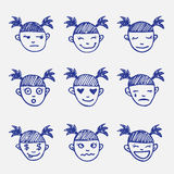 Vector hand drawn doodle emoticons set. Girl's Stock Images