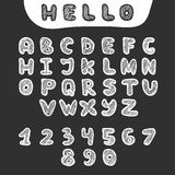 Vector hand drawn doodle font in sketch style Stock Photography