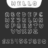 Vector hand drawn doodle font in sketch style Royalty Free Stock Photo