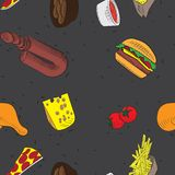 Vector hand drawn doodle food seamless patterns. black background stock illustration