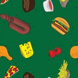 Vector hand drawn doodle food seamless patterns. green background stock illustration
