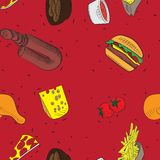 Vector hand drawn doodle food seamless patterns. red background vector illustration