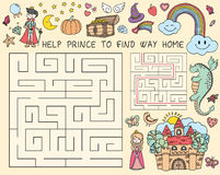 Vector hand drawn doodle illustration of maze with fairy tales characters. Educational game for children Stock Photos