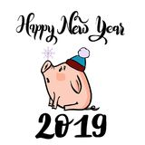 Vector hand drawn doodle illustration of new year winter piglet with a snowflake and 2019. Vector hand drawn doodle illustration of new year winter piglet in a Royalty Free Stock Photo