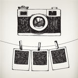 Vector hand drawn doodle illustration of retro Royalty Free Stock Photography