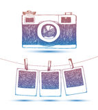 Vector hand drawn doodle illustration of retro photo frames and camera. Royalty Free Stock Photo
