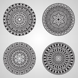 4 Vector Hand Drawn Doodle Mandalas. All brushes included, you can create your own pattern Royalty Free Stock Photography