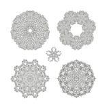 5 vector hand drawn doodle mandalas Stock Photography