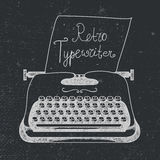 Vector hand drawn doodle retro black ans white typewriter with paper. Stock Images