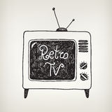 Vector hand drawn doodle retro tv isolated Royalty Free Stock Photos