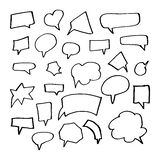 Hand Drawn Doodle Style Set Of Speech Bubbles Stock Photography