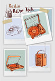 Vector hand drawn Doodle Vintage media gadgets  set of equipment. Vintage electronic devices sketch  objects.vector illustration Royalty Free Stock Image