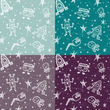 Vector hand drawn doodles cartoon set of Space objects Stock Photo