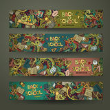 Vector hand drawn doodles school design banners Royalty Free Stock Photos