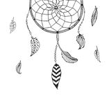 Vector hand drawn Dreamcatcher. Tribal design, boho style, with indian feather  on white background. Ethnic, aztec illustration Royalty Free Stock Image
