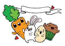 Vector hand drawn Easter doodle illustration. For a book coloring Royalty Free Stock Images