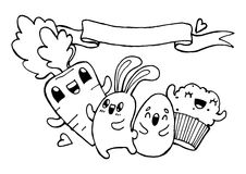 Vector hand drawn Easter doodle illustration Royalty Free Stock Photography