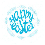 Vector hand drawn easter lettering greeting quote circled composition surround with floral branches Stock Images