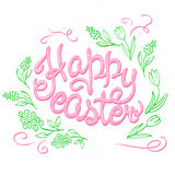 Vector hand drawn easter lettering greeting quote circled composition surround with floral branches Royalty Free Stock Photo