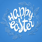 Vector hand drawn easter lettering greeting quote circled composition surround with floral branches Stock Photography