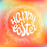 Vector hand drawn easter lettering greeting quote circled composition surround with floral branches on blur background Stock Photography