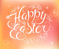 Vector hand drawn easter lettering greeting quote circled composition surround with floral branches on blur background Royalty Free Stock Image