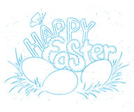 Vector hand drawn easter lettering greeting quote with eggs on grass Royalty Free Stock Photos