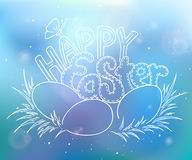 Vector hand drawn easter lettering greeting quote with eggs on grass on blur background Royalty Free Stock Photo