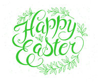 Vector hand drawn easter lettering greeting quote with floral branches