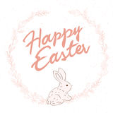 Vector hand drawn easter lettering greeting quote with rabbit circled composition surround with floral branches Stock Photos