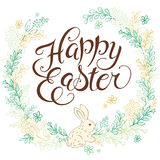 Vector hand drawn easter lettering greeting quote with rabbit circled composition surround with floral branches Stock Photography