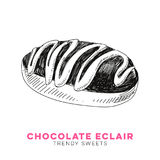 Vector hand drawn eclair Illustration. Sketch vintage style. Design template. Retro background Royalty Free Stock Image
