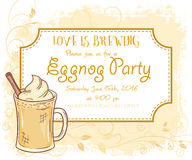 Vector hand drawn eggnog party invitation card, vintage frame, glass and leaves Royalty Free Stock Photography