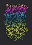 Vector hand drawn elegant alphabet. Delicate letters written wit Royalty Free Stock Photos