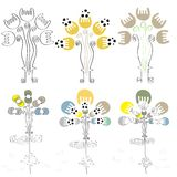Vector  hand drawn elephant and butterfly with floral pattern.(eps10) Royalty Free Stock Image