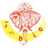 Vector hand drawn elephant`s head and text. India style illustration. vector illustration