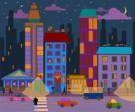 Hand-drawn evening city landscape. Vector illustration. royalty free illustration
