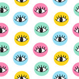 Vector hand drawn eye doodles in colorful circles Royalty Free Stock Photo